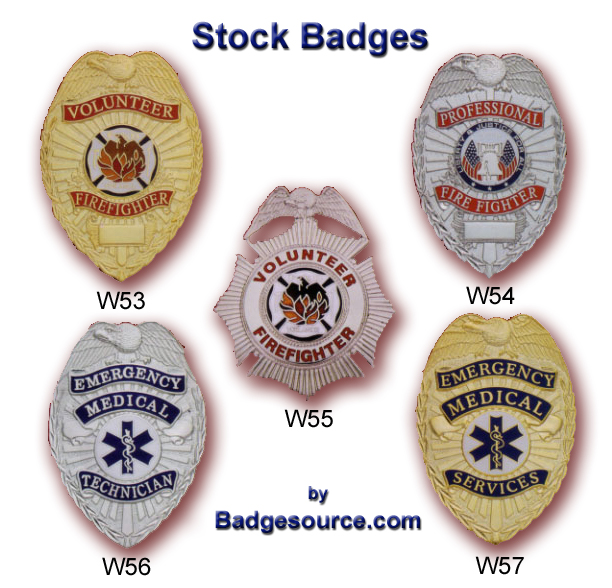Firefighter, EMT and EMS badges